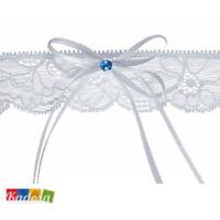 Giarrettiera Bianca PIZZO Strass BLU Tradizione Matrimonio Sposa Wedding Sexy