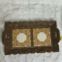 Vintage Retro MCM Mexico Hand Carved Wood and Ceramic Tile Serving Tray 13 x 7.5