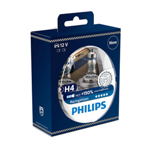 Philips H4 Racing Vision +150% Halogen  H4 12V 55W P43t-38 (Pair)