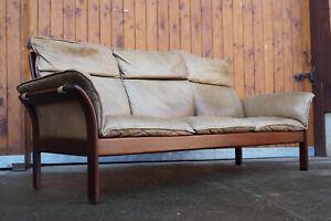 60er Vintage Leder Sofa 3er Retro Couch Danish Wanscher Juhl Jalk Ära