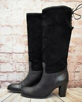 Womens Gucinari Black Leather & Suede High Heel Knee High Boots UK 7 EUR 41