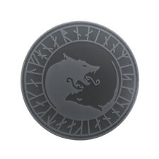 3D PVC Rubber VIKING OF WOLVES AND RUNES Hook Patch Grey