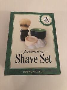 Van Der Hagen traditional SHAVE SET 2.5oz Soap ceramic bowl Boar Shaving Brush