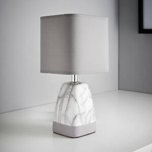 NEW MODERN DESIGN STYLISH LIGHT GREY MARBLE EFFECT TABLE LAMP