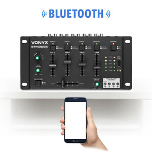 Bluetooth Wireless DJ Mixer 4 Channel with Crossover Talkover Cue PA Line In MP3