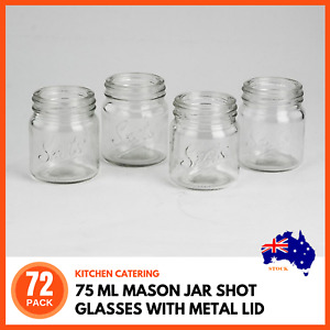 72 x 75ML MASON JAR SHOT GLASSES w/ METAL LID Shots Drinks Wedding Favours Craft