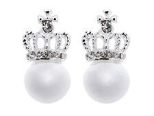 Silver Plated Rhinestone Costume Earrings