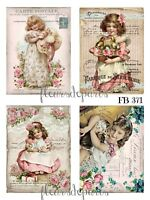 ~ NEW! Shabby Chic Vintage Victorian Girls 4 Prints on Fabric Quilting FB 265 ~