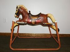 "VINTAGE TOY 34"" LONG RIDE ON PLASTIC SPRING BOUNCING ROCKING HORSE"