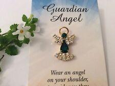 Angel Prendedor Broche Dorado Esmeralda Cristal Rhinestone 25mm Regalo Post Libre