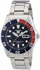 Seiko 5 Sports SNZF15 Men's Stainless Steel Red Blue Bezel Automatic Watch