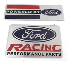 """2"" FORD EMBLEMS (1 POWERED BY FORD) (1 FORD RACING PARTS) Both Brushed Aluminum"