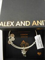 Alex and Ani Conch Shell II Bangle Bracelet Rafaelian Silver NWTBC