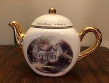 Thomas Kinkade Teleflora- Home Is Where The Heart Is Ii Teapot w/ Gold Trim