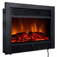 """Christmas 28.5"""" Fireplace Electric Embedded Insert Heater Glass Log Flame Remote"""