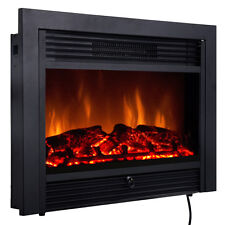 "Christmas 28.5"" Fireplace Electric Embedded Insert Heater Glass Log Flame Remote"