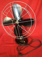 "Large Antique Cast Iron HUNTER Electric Fan 16"" Blades Oscillating Working EXC"
