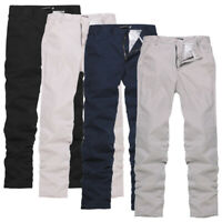 Mens Cargo Chino Pencil Solid Trousers Formal Straight Leg Party Business Pants