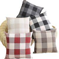 """18"""" Lattice Checked Pillow Case Cotton Linen Sofa Throw Cushion Cover Home Decor"""