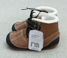 Mothercare Brown Crawler Soft Warm Fur Lined First Boots Size 5 Infant BNWT