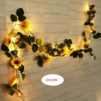 2.3 M 20LED Simulation Sunflower LED String Green Leaf Light Home Decor Wedding