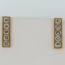 14K Rose Gold 0.91ct Champagne Diamond Micro Pave Bar Earrings Stud Earrings