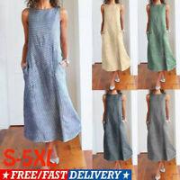 Plus Size Womens Sleeveless Striped Cotton Linen Ladies Summer Long Kaftan Dress