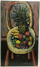 Original Still Life Fruit Oil Painting Gilbert Boyd California Listed Impression