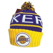 Los Angeles LA Lakers NBA Mitchell & Ness Cuffed Pom Knit Beanie