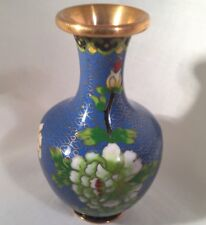 Blue Cloisonne  Enamel Vase Small 4-inch Tall Rose Blossom Flower Chinese
