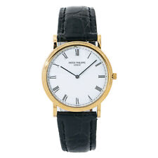 Patek Philippe Calatrava 3520 Manual Vintage 18k Gold Leather White Dial 32mm