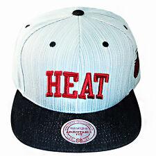 Mitchell & Ness NBA Miami Heats Snapback Hat Denim Blue Side Patch stripe Cap