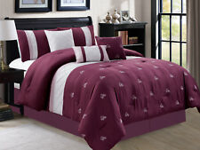 7-Pc Floral Embroidery Pleated Diamond Comforter Set Purple Lavender Gray King