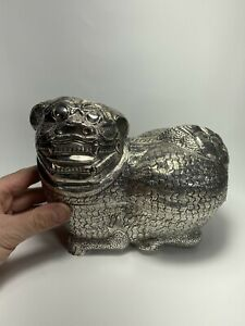 Large Southeast Asian Silver Foo Dog Shaped .900 Silver Betel Box 642g Signed