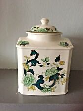 Masons Ironstone Chartreuse Ginger Jar / Lidded Tea Caddy Green & Gilded Quality