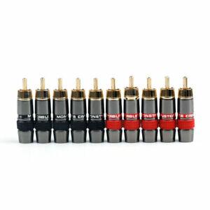 10 Pcs RCA 8mm Cable Plug Copper Gold Connectors High Quality