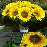 1* Artificial Flowers Fake Sunflowers Leaf Bouquet Decor Table Garden O6U7