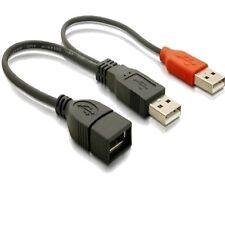 DeLOCK 65306 USB 2.0 Dual Power Y Strom-Kabel kurz Daten 2 Stecker Buchse 22,5cm