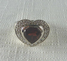 5.60ct Genuine Heart Garnet & Cubic Zirconia 925 Sterling Silver Statement Ring