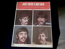 BEATLES~ BABY YOU'RE A RICH MAN~EXCELLENT SHAPE ~ SHEET MUSIC~ COLLECTABLES