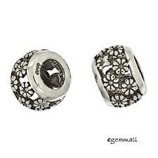 1x Antique Sterling Silver Filigree Flowers European Charm Bead #97528