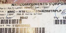 50 pcs 1812 SIZE .33uf 200V 10% X7R SMD CERAMIC CAPACITOR NMCH1812X7R334K200 NIC