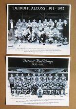 Detroit Falcons 1931-32 & Detroit Red Wings 1932-33 Team Photos, B&W 8x10 Pair