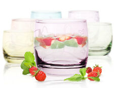 250ml Set of 6 /127/ Glasses Tumblers Coloured Butterflies Short Wide Barrel