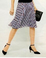 NWT $109 TALBOT'S DIAMOND-CUBE KNIFE PLEATED SKIRT BLUE/ROSE/IVORY/BLACK XL