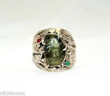 Moldavite, Emerald and Ruby Ring Jewellery - Sterling Silver