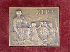 Médaille plaque bronze Ville DIEPPE par J. Delpech & son écrin French city medal