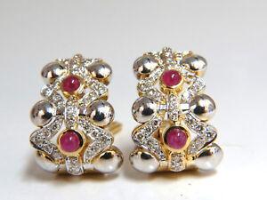 2.00ct natural ruby diamonds semi hoop clip earrings 14k