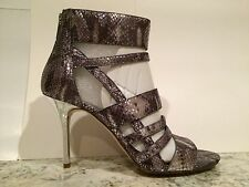 Michael Kors Shiloh Sandals Heels Embossed Suede Snake Print Metallic 8.5 M New