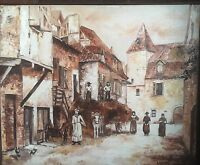 Interesting Mid-Cent. French Impressionist Folk Art Painting of Village, Signed